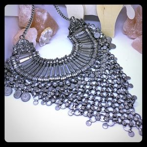 Chain mail statement necklace in silver